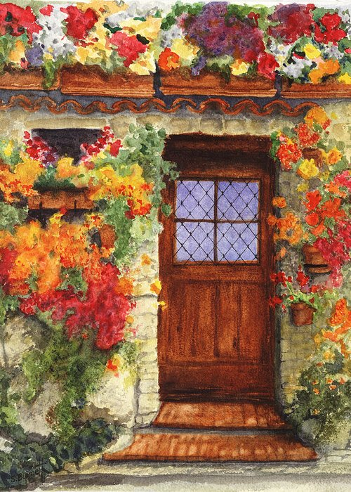 Italy Greeting Card featuring the painting Tuscan Door by Sherry Burnett