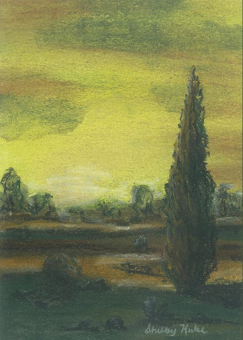 Tuscan Greeting Card featuring the pastel Tuscan Dusk 1 by Shelby Kube