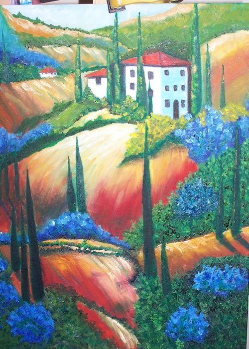 Landscape Greeting Card featuring the painting Tuscan Hills by Charles Vaughn