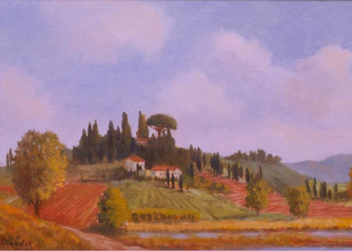 On Location Landscape In Tuscany Italy Greeting Card featuring the painting Tuscan Hillside by David Olander