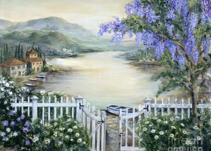 Tuscany Greeting Card featuring the painting Tuscan Pond And Wisteria by Marilyn Dunlap