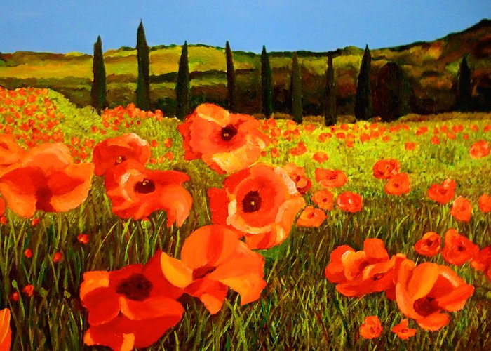 Poppies Greeting Card featuring the painting Tuscan Poppies by JoeRay Kelley