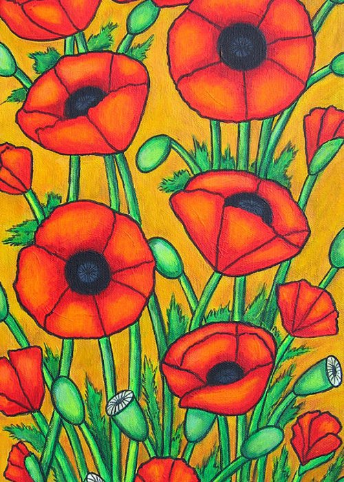 Colourful Greeting Card featuring the painting Tuscan Poppies by Lisa Lorenz