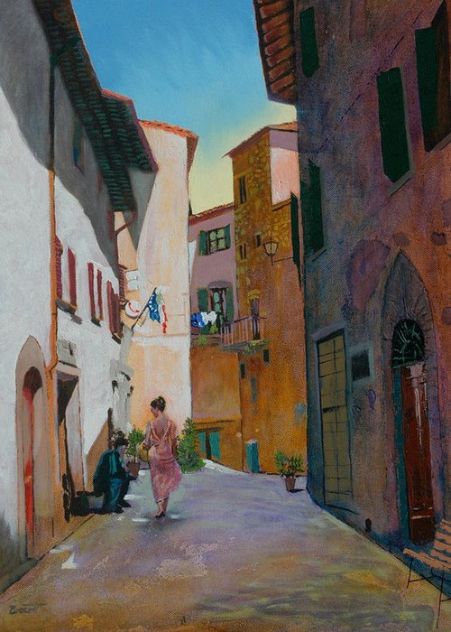 Tuscany Greeting Card featuring the painting Tuscan Street by Robert Bissett