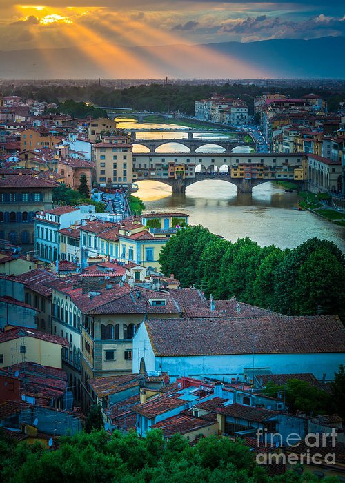 Arno Greeting Card featuring the photograph Tuscan Sunbeams by Inge Johnsson