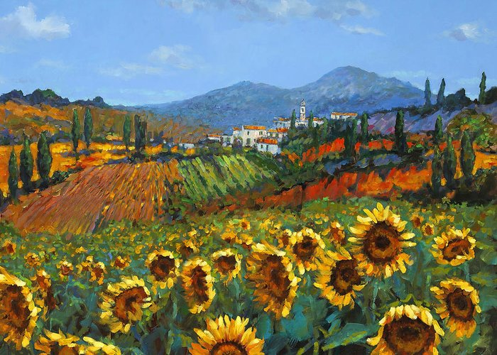 Tuscany Greeting Card featuring the painting Tuscan Sunflowers by Chris Mc Morrow