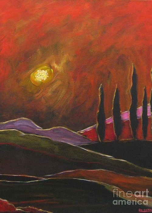 Angelica Dichiara Greeting Card featuring the painting Tuscan Sunset Rage by Italian Art
