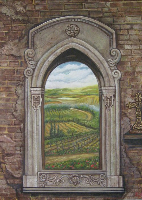 Window Greeting Card featuring the painting Tuscan View by Diann Baggett