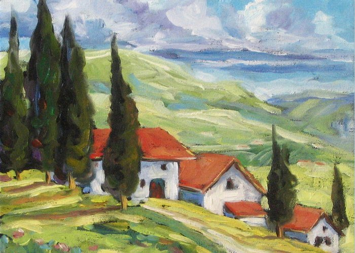 Tuscan Greeting Card featuring the painting Tuscan Villas by Richard T Pranke
