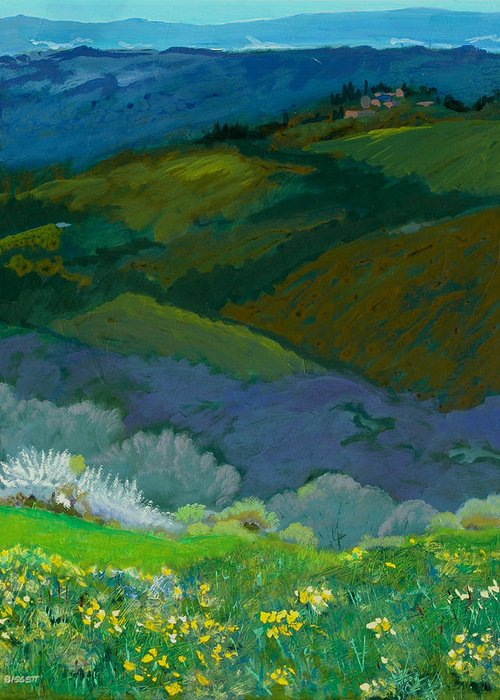 Landscape Greeting Card featuring the painting Tuscan Vista by Robert Bissett