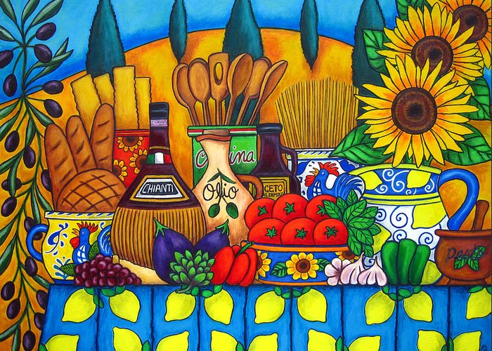 Still Life Greeting Card featuring the painting Tuscany Delights by Lisa Lorenz