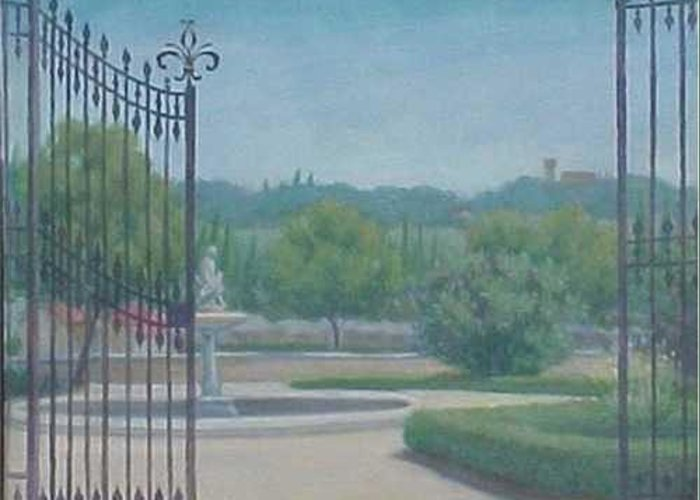 Florence Greeting Card featuring the painting Tuscany Garden by Michael Gillespie