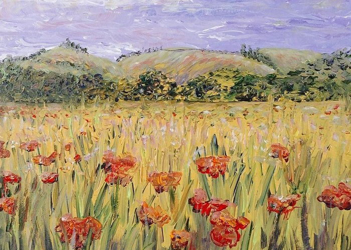 Poppies Greeting Card featuring the painting Tuscany Poppies by Nadine Rippelmeyer