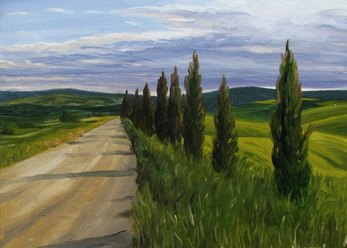 Greeting Card featuring the painting Tuscany Road by Jay Johnson