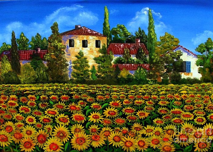 Italy Greeting Card featuring the painting Tuscany Sunflowers Field by Inna Montano