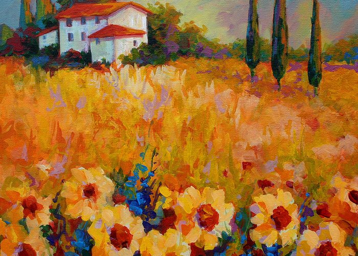 Tuscany Greeting Card featuring the painting Tuscany Sunflowers by Marion Rose