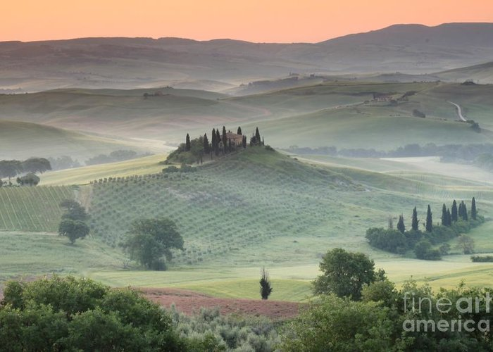 View Of The Countryside With The Belvedere In The Distance (photo) Landscape; Italian; Tuscan; Tuscany; Rural; Val D'orcia; Villa; Spring; Scenic; Atmospheric; Hilltop; Building; Architecture; Exterior; Remote; Isolated; Cloud Greeting Card featuring the photograph Tuscany by Tuscany