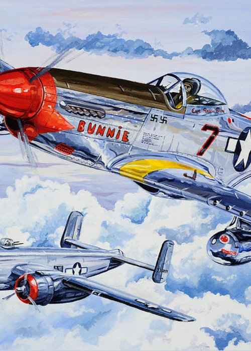 P-51 Mustang Greeting Card featuring the painting Tuskegee Airman by Charles Taylor