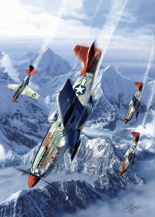 Mustang Greeting Card featuring the digital art Tuskegee Airmen by Kurt Miller