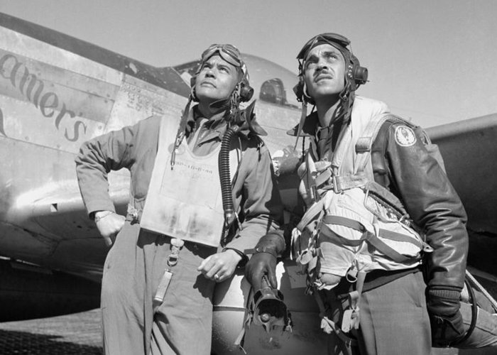 Benjamin Davis Greeting Card featuring the photograph Tuskegee Airmen by War Is Hell Store