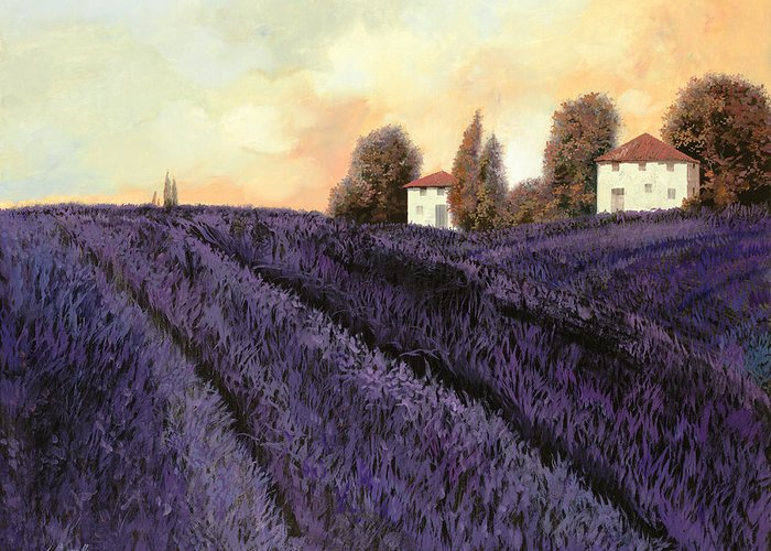 Lavender Greeting Card featuring the painting Tutta Lavanda by Guido Borelli
