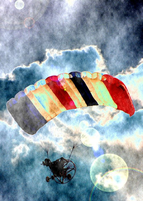 Kite Plane Greeting Card featuring the photograph Twenty-first Century Icarus by Roger Soule