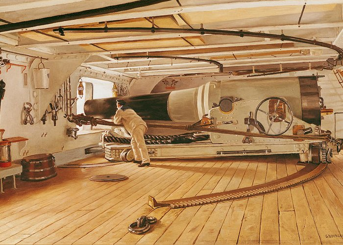 Twenty-seven Greeting Card featuring the painting Twenty-seven Pound Cannon On A Battleship by Gustave Bourgain