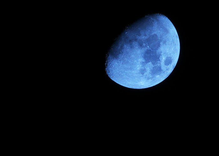 Waxing Blue Moon Greeting Card featuring the photograph Twice in a blue Moon by Baato