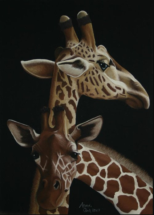 Giraffe Greeting Card featuring the pastel Twiga by Amanda Clark