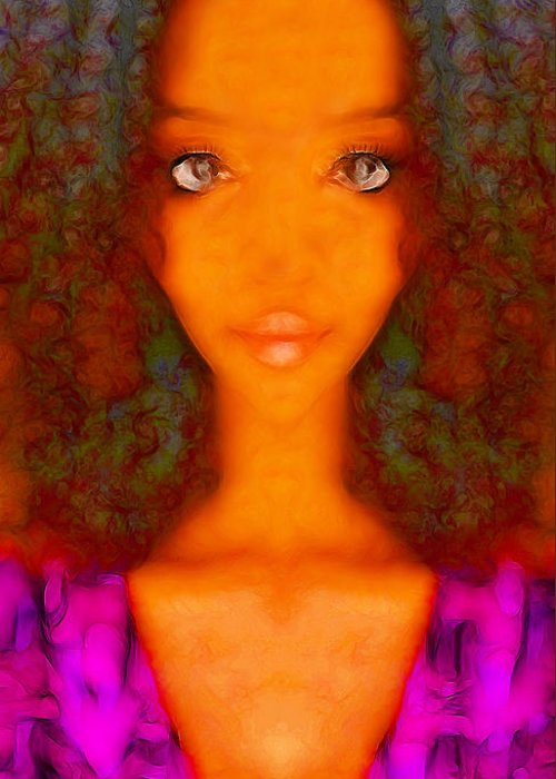 Abstract Female Portrait Greeting Card featuring the digital art Twiggy by Devalyn Marshall