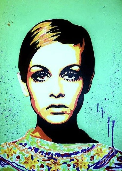 Twiggy Greeting Card featuring the painting Twiggy by Grant Swinney