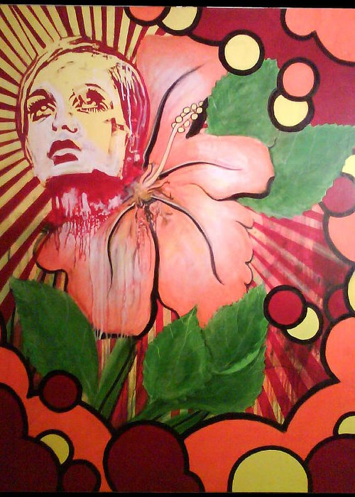 Twiggy Greeting Card featuring the painting Twiggy by Stephen Barry