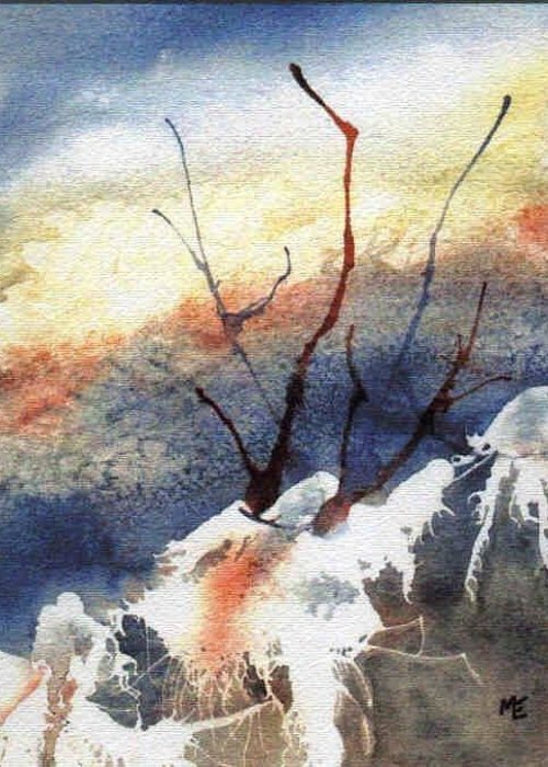 Twigs Greeting Card featuring the painting Twigs-n-ice by Marsha Elliott