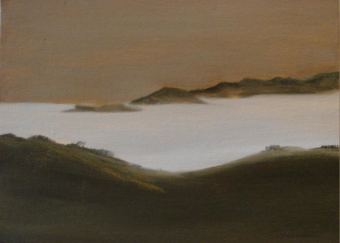 Landscape Greeting Card featuring the painting Twilight Anacapa Island by Dottie Briggs