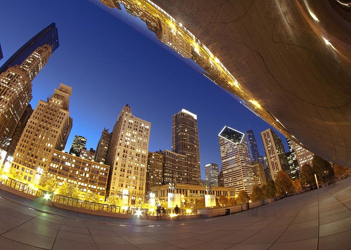 Bean Greeting Card featuring the photograph Twilight Chicago Skyline by Sven Brogren