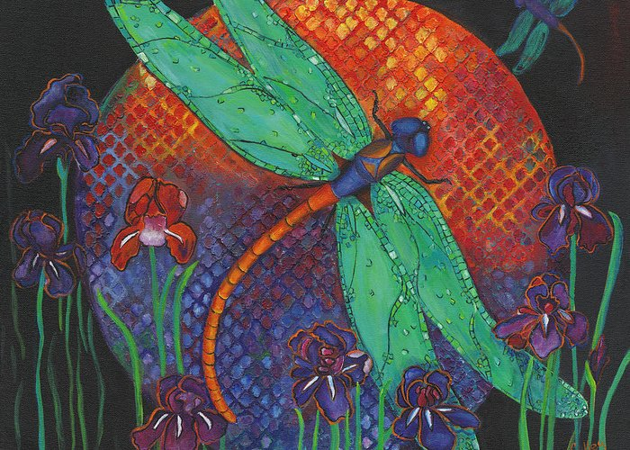 Dragonflies Greeting Card featuring the painting Twilight Flight by Debbie McCulley