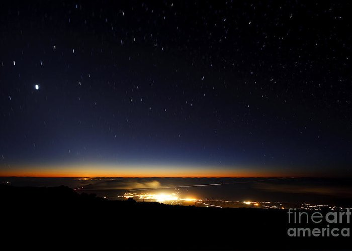 Below Greeting Card featuring the photograph Twilight From Haleakala Summit by MakenaStockMedia - Printscapes