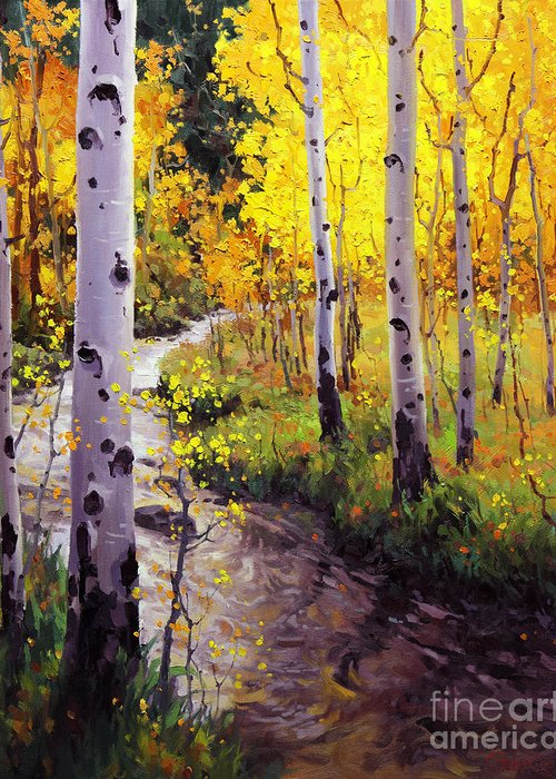 Twilight Glow Over Aspen Mountains Landscape Scenic Nature Fall Sky Aspen Trees Fall Foliage Greeting Card featuring the painting Twilight Glow Over Aspen by Gary Kim