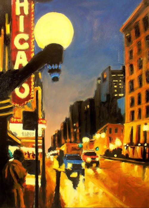 Rob Reeves Greeting Card featuring the painting Twilight In Chicago - The Watcher by Robert Reeves