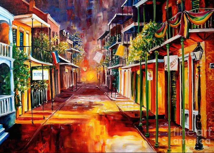 New Orleans Greeting Card featuring the painting Twilight In New Orleans by Diane Millsap