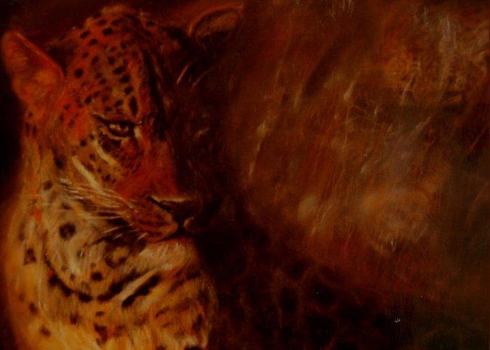 Wildlife Art; Wildlife Art Pastel; Pastel; Drawing; Greeting Card featuring the painting Twilight Leopard by Arlene Rabinowitz