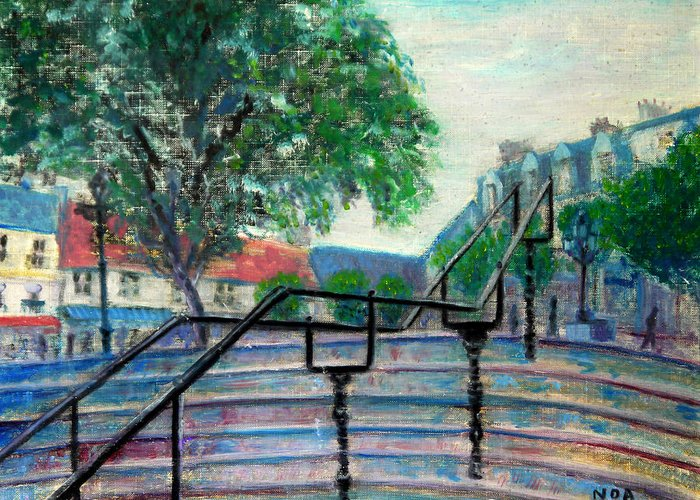 Cityscape Greeting Card featuring the painting Twilight On The Place by Aymeric NOA
