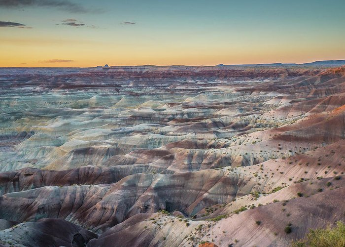 Landscape Greeting Card featuring the photograph Twilight Over The Painted Desert by Nana Suzuki