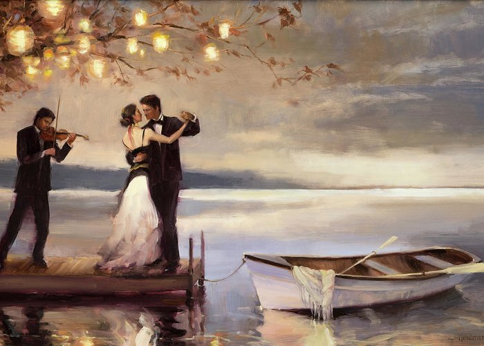 Romantic Greeting Card featuring the painting Twilight Romance by Steve Henderson