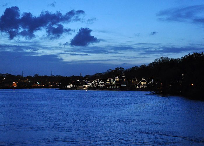 Boathouse Row Greeting Card featuring the photograph Twilight Row by Andrew Dinh