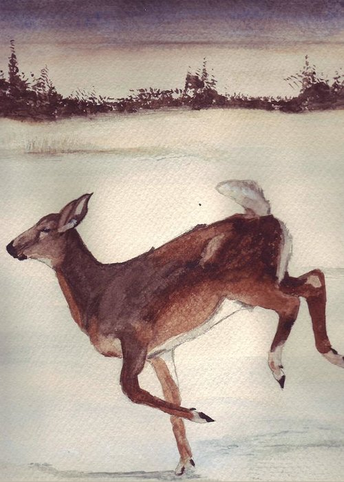 Whitetail Deer Greeting Card featuring the painting Twilight Run by Debra Sandstrom