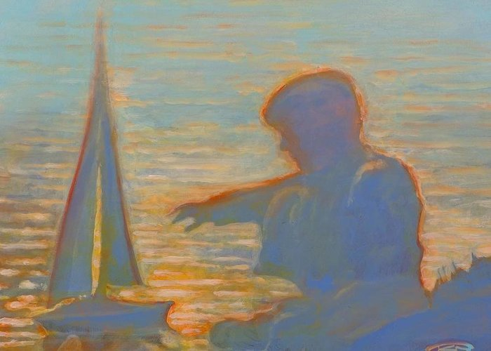 Portrait Greeting Card featuring the painting Twilight Sailor by Kip Decker