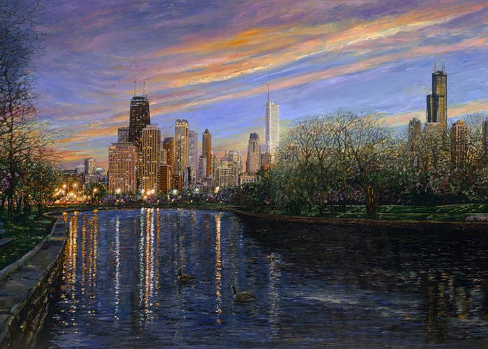 Chicago Evening Skyline Greeting Card featuring the painting Twilight Serenity by Doug Kreuger