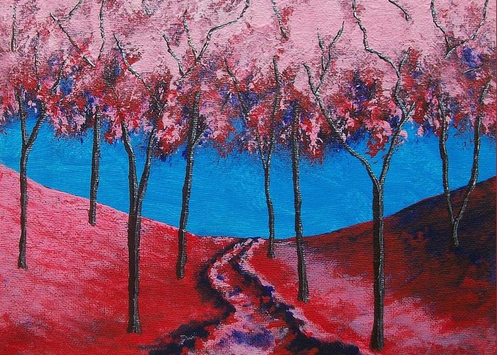 Art & Collectibles Painting Acrylic Forest Path Twilight Forest Sunset Woods Rolling Hill Monochrome Painting Ooak One Of A Kind Wooded Trail Shiny Artwork Hiking Art Nature Painting Red Blue Pink Landscape Silver Trunks Greeting Card featuring the painting Twilight Woods by Mike Kraus