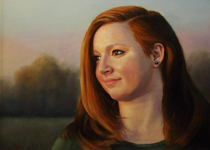 Young Girl Portrait Greeting Card featuring the painting Twilight's Approach by Glenn Beasley